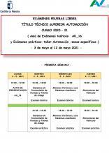 Exámenes Primera Semana del 3 al 6 de mayo de 2021